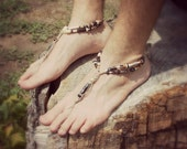 Barefoot Sandals Men - handmade shoes sandals - wedding ceremony - beach sandals - hemp sandals - toe thong - beaded sandals - hippie shoes