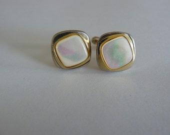 Cufflinks vintage inlaid iridescent mother of Pearl dinkse - vintage cufflinks Bnutons