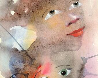 Print of original watercolor painting.  A3