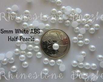 5mm White ABS Half Pearls, Flatback Decoden Cabochons, White Half Pearls