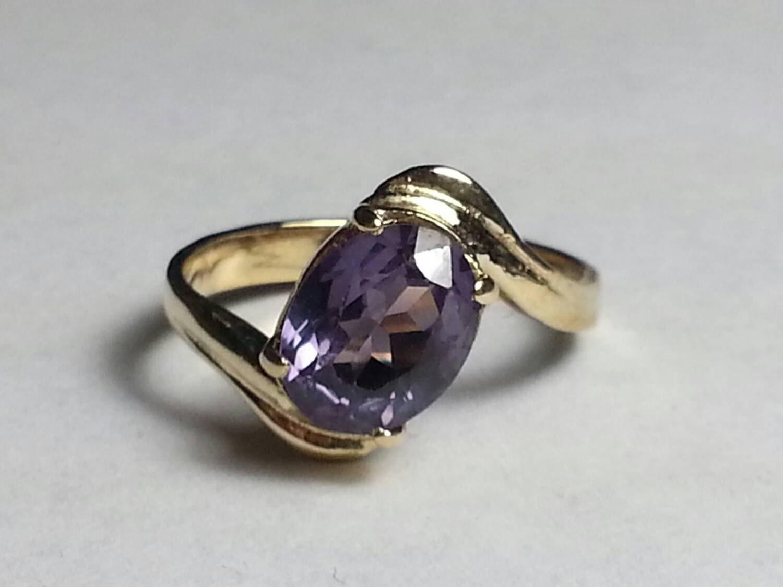purple topaz 14k gold ring