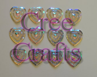 25mm resin sew on glitzy hearts