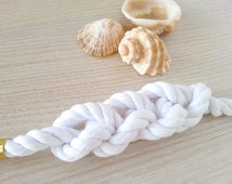 White braided bracelet, cotton rope bracelet, white summer bracelet, Knotted bracelet, Nautical white bracelet, Sailor knot bracelet