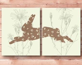 rabbit print,  bunny printable, woodland nursery printable, bunny print, woodland animal floral, hare print, rabbit download, bunny download