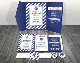 Hot Air Balloon Printed striped/navy blue/white/cream Pocket Wedding Invitation