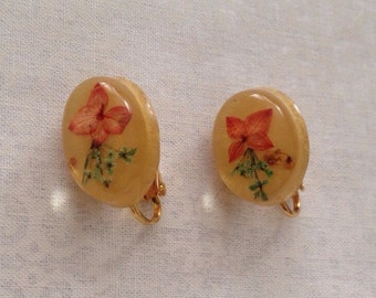 Vintage dried flower gel clip earrings