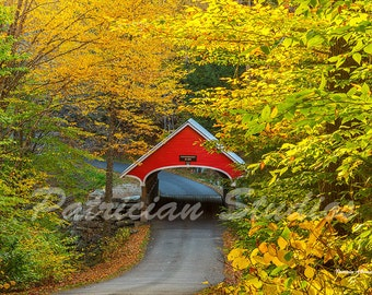 Covered Bridge in Autumn Over the Pemigewasset River
