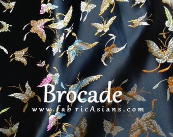 Butterfly Fabric. Black Brocade.  SB100501