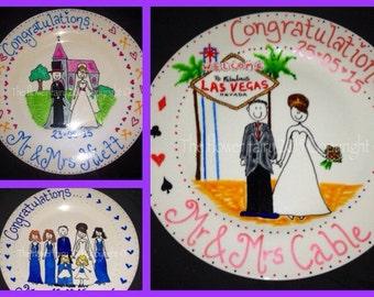 Wedding day keepsake plates