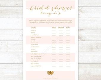 pink stripes gold bridal shower game honey do list, pink gold glitter honey do printable DIY bridal shower digital games - INSTANT DOWNLOAD