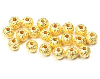 20 22k Gold Plated 4mm Sparkle Shimmer Round Metal Accent Beads (Free Shipping USA)