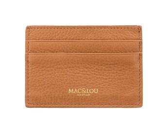 MAC&LOU Calfskin Leather Cardholder Wallet Camel