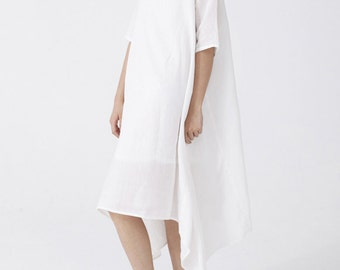 Womens White Linen Dress,Boat Neck Dress,Thin Soft Short Sleeve Midi Dress Tunic