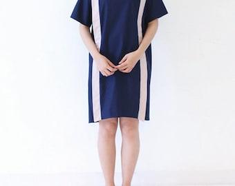 Dark Blue Cotton Short Sleeve Dress,Summer Dress,Mide Dress Tunic