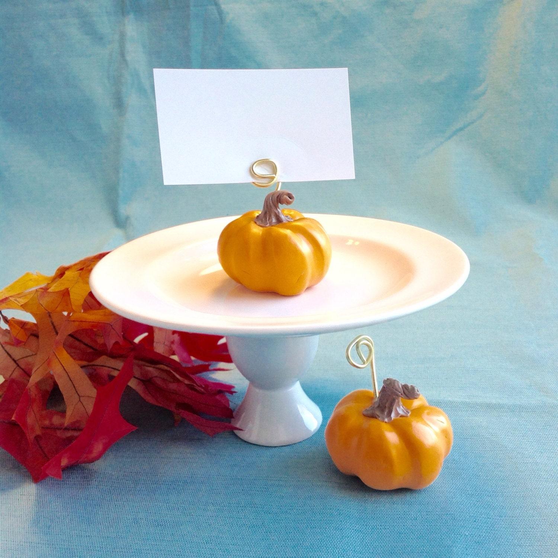 Fall Wedding Card Holder Ideas: Pumpkin Place Card Holders Fall Wedding Decoration