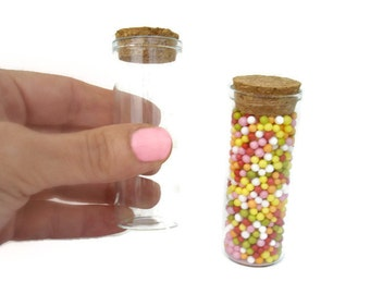 Glass Tube Vial with Cork Stopper, 70mmx30mm diameter, Glass Test Tube with Natural Cork, unit or sets