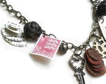Steampunk bits and bobs necklace - charm necklace - autumn/fall jewelry - steampunk necklace - steampunk jewellery - upcycled - OOAK