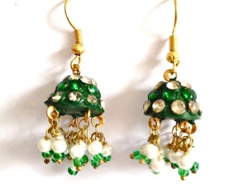 Handcrafted Artisan Lakh Lac Jaipur Tiny Earrings Handmade Green Color