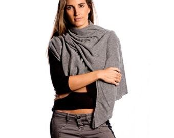 Grey Cashmere Wrap/Melange Grey 100% Cashmere Wrap/Grey Cashmere Scarf