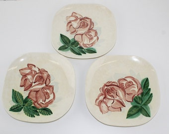 Red Wing Lexington Rose Dinner Plates, 3 Antique Dinner Plates