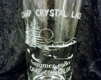 Camp Crystal Lake Camp Counselor Summer of 1980 Etched Pint Glass Friday the 13th inspired Jason Voorhees 80's Horror movie glassware