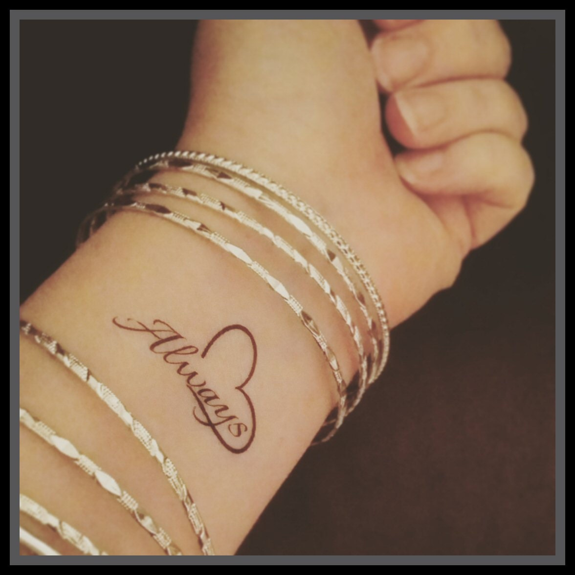 Quote Fake Tattoo Quote Word Tattoo Temporary Tattoo Always