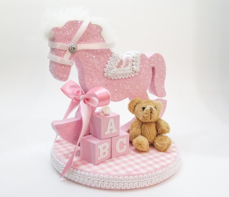 Pink rocking horse cake topper with ABC Blocks