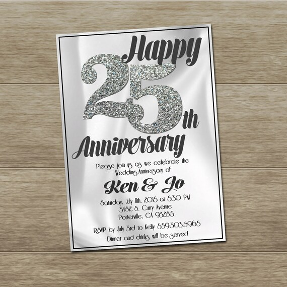 25th Anniversary Invitation Printable Custom By OhhDeerDesigns