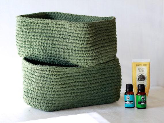Crochet Rectangle Basket Pattern Free : 2 green crochet baskets storage basket rectangle basket