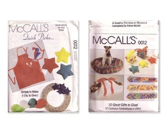 McCalls 0012 Sewing Pattern Simple to Make Fun to Give Gifts 10 Easy Craft Projects UNCUT