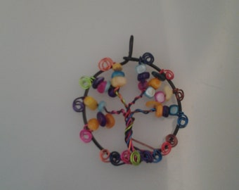 Rainbow color tree of life pendant