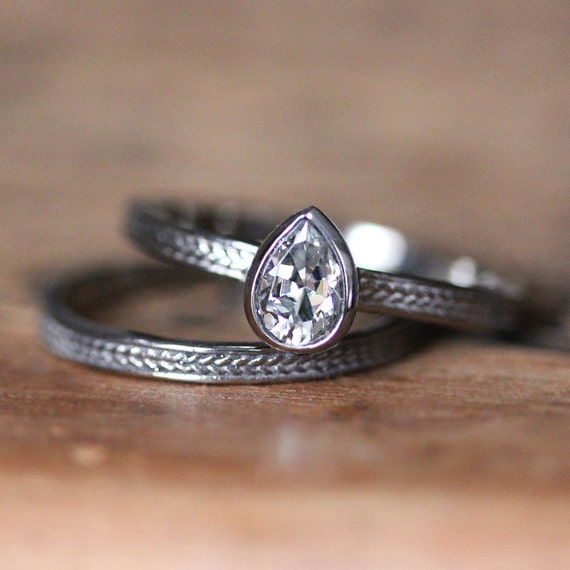 rustic moissanite engagement set pear shaped by. Black Bedroom Furniture Sets. Home Design Ideas