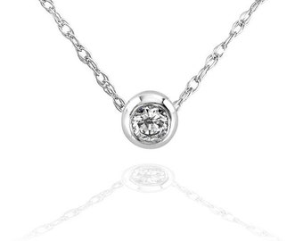 "Mini Diamond Solitaire Bezel Necklace in 14K Gold (18"" Chain)"