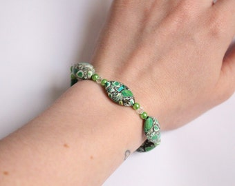 Green Mosaic Stone Bracelet with Swarovski Pearls and Crystals
