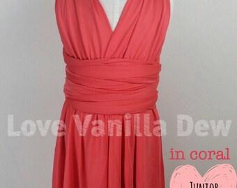 Junior Bridesmaid Dress Infinity Dress Coral Convertible Dress Multiway Wrap Dress