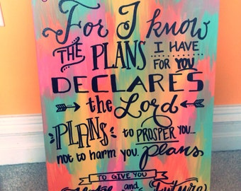 Jeremiah 29:11 Hand-Painted Canvas