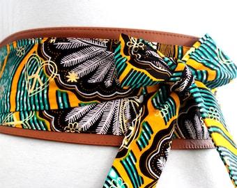 Ankara Print Tan Leather Obi Belt   African Print Leather Obi Belt   Print Waist Obi Belt   African Print Corset Belt   Plus Size belts