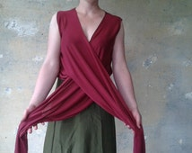 Womens Wrap Top  MULTI Maroon Bohemian Shawl Cardigan  Sleeveless Womens Blouse Womens Shirt Everyday Easy to Wear MAroon Wrap Top