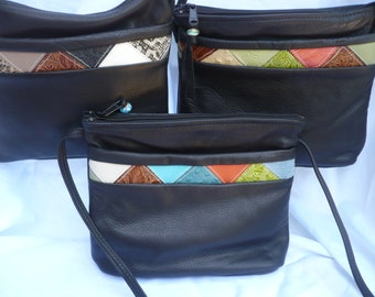 LEATHER CROSSBODY BAG Multi Color Design w/Secure Cell Phone Pocket
