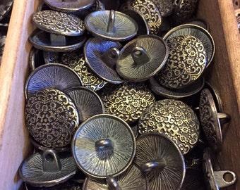 17 mm brass and bronze metal shank button, set of 10