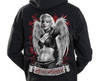 Marilyn Monroe guns gangster tattoo Lost marylin hoodie sweatshirt cali diamond