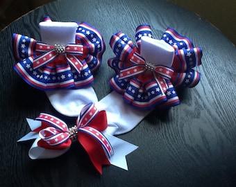 Girls red/white and blue stars/stripes ruffle socks