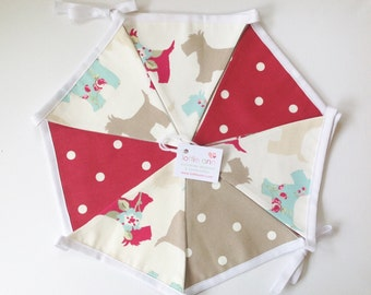 Scotties Bunting, Red Dotty Bunting, Dogs Bunting, Fabric Bunting, Lined Bunting, Decoration