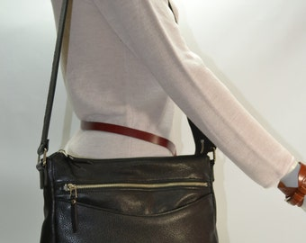 Black soft leather shoulder bag with Four zippers pockets