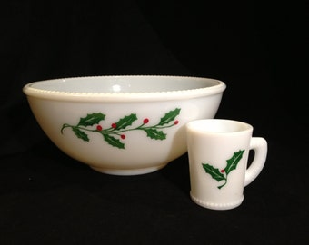 McKee Milk Glass 12-Piece Punch Bowl Set with Holly and Berry Design