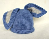 Baby crochet banny rabbit hat blue grey rabbit hat animal hat boy hat girl hat