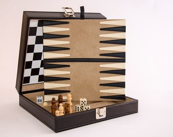 Personalised games compendium in smart leatherette travel case with chess, backgammon, draughts and tic tac toe.