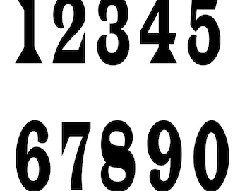 Number Stencil - 0 to 9 6 sizes - Stencils in Reuasble Mylar - For Signs and Fabric