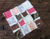 Security Rag Quilt Baby Minky Blanket - BUCKS, TRACKS & RUBS™ - Exclusively from OCKBaby - camo, hunting, deer tracks, bucks baby bedding