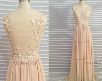 Champagne lace wedding dress, Champagne lace prom Evening Dress Bridesmaid Dress, Custom Made Bridesmaid Dress 2015 New Arrive